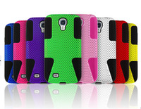 Wholesale 2 in Dual Layer Hard Plastic Mesh Net Silicone Rubber Case Cover Skin for Samsung Galaxy S4 i9500 mobile phone case