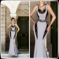 Wholesale 2014 Mireille Dagher Gray Sweetheart Mermaid Long Chiffon Formal Women s Party Gowns Sweep Train Black Lace Pageant Evening Dresses