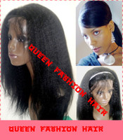 Wholesale high quality grade A b soft indian remy human hair kinky straight lace front wig full lace wig