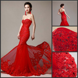 Wholesale 2014 New Lace Wedding Dress Custom Mermaid Strapless Sweetheart Tulle Red Ivory White Bridal Gown Venice Lace Beads Flowers Wedding Gown