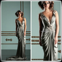 Wholesale Mireille Dagher Silver V Neck A Line Sweep Train Elastic Satin Evening Dresses Long Ruffles Pageant Women s Party Gowns Hand Make Flowers