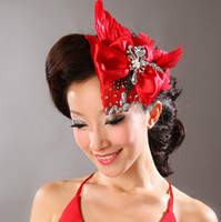Latest Red Feather Bow Beads Diamond Stunning Wedding Hair A...
