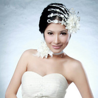 2pcs White Crystal Pearl Feather Beads Wedding Hair Accessor...