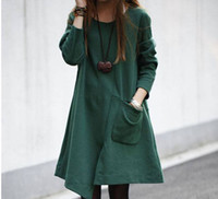 Wholesale Korean new women spring and autumn fashion irregular loose long sleeve cotton slim solid green black trench coat ewwt229