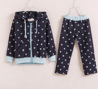Wholesale 2014 New Spring star Cotton hooded track suit girls cotton casual wear set TZ71