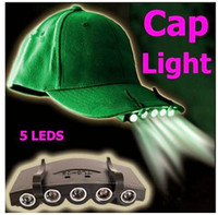 Wholesale Factory sales Leds Cap Hat Light Clip On LED Fishing Camping Head Light HeadLamp Cap with cell Batteries