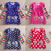 Girl Spring / Autumn Children Retail 2014 new Peppa Pig girl T-shirts,Peppa Pig long sleeve shirts,girl blouses,clothes baby wear