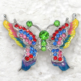 12pcs lot Wholesale colorful Crystal Rhinestone Enameling Butterfly Fashion Costume Pin Brooch C344