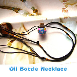 Wholesale polymer clay Murano mini glass necklace essential oil perfume bottle necklace ball shape cheap necklaces