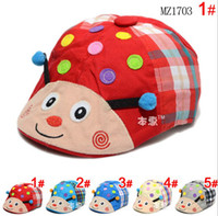 Wholesale 2015 Spring Children Berets Hats Baby color Ladybug Design Beret Caps Kids Accessories