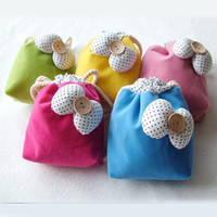 Wholesale 15 cm Decorative Bowknot Flannel Storage Bags with Drawstring MINI Candy Color Assorted Gift Wrap Bag CK113