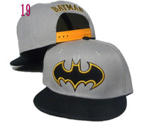 Wholesale new gray black batman logo kids adjustable baseball snapback hats and caps for children sports hip pop cap boys sun hat colors