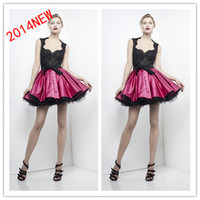 Reference Images Square Satin 2014 Appliques Black Lace Tank Above Knee Length Puffy Ball Gown A-line Cocktail Dresses Short Prom Dresses Homecoming Dress Zuhair Murad 83