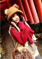 Wholesale New Arrival Winter Women Fashion Acrylic Cute Sweet Girl Hat Twin Bobbles Knitted Warm Cap Skullies Beanies