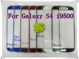 Écrans pourpres en Ligne-Pour Samsung Galaxy S4 9500 I9500 Verre coloré avant Outer lentille d'écran Noir Blanc Bleu Rouge Rose Marron Ciel-Bleu Couleur pourpre BY DHL EMS
