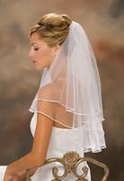 Wholesale Bridal Wedding Veils Pearls Net Veil Retail Two Layers m Short Tulle Cheap Simple Customer Gift White Ivory Wedding Veil V10