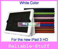 Wholesale For new ipad Case Folio Leather Case Smart Cover Stand for new iPad HD W standby wake up Free Shiping IPAD3C01