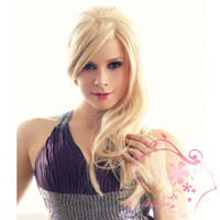 Wholesale natural wavy blonde brazilian full lace wigs blond human hair