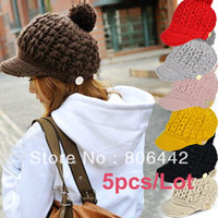 Wholesale 5pcs Women s Wool Winter Hat Thick Line Hat Ball Cute Hat Warm Flight Hat Peaked Cap
