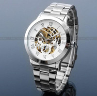 Men's Round 24 2013 NEW Hollow Skeleton Mechanical Auto Clocks Mens Metal Band Wrist Watch for Male Gift