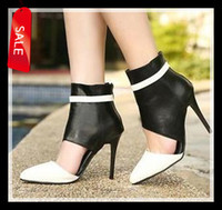 Wholesale 2014 New Out Cuts High Stiletto Heels Shoes Colors Pointed Toe Black White Designer Shoes ePacket