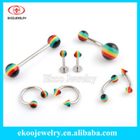 Wholesale Body Piercing Marijuana Rasta Body Jewelry Barbell Belly Ring Lip Piercing Eyebrow Ring Horseshoe Mixed Style of