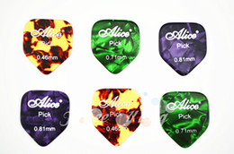 Lots of 100pcs Alice Small Pentagon Guitar Picks Pearl Celluloid Guitar Picks 0.46 0.71 0.81 mm Free Shipping Wholesales