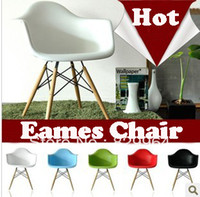 Solid Wood plastic stool chair - Eames plastic side chair Modern Leisure Chair stools wood dining Chair Office Chair
