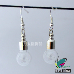 Wholesale 3pairs Glass Bulb Vial Earrings MM Bulb Preglued silver plated screw caps name on rice pendants rice jewelry earrings Aroma pendant
