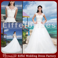beach beauty pictures - 2014 Sexy Beach Lace A Line Wedding Dress with A Beauty Scoop Neckline and Embellished A Beaded Appliques Sash Sheer Back White Bridal Gowns