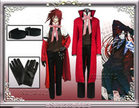 Wholesale Black Butler Shinigami Grell Sutcliff Red Cosplay Costume Wig eyeglasses Custom made Any size