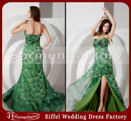 Wholesale Real Image Green Peacock Prom Dresses Fashion Sweetheart A Line Side Slit Colorful Print Chiffon Rhinestones Long Evening Dresses