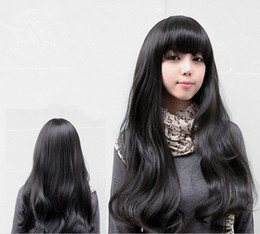 Wholesale New Fashion Womens Girls Natural Wavy Curly Long Hair Human Full Wigs With Bang L503