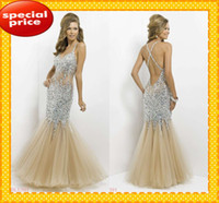 Reference Images rhinestone see through dress - 2016 New Champagne Mermaid Prom Dresses Sexy Spaghetti See Through Back Cris Cross Bling Rhinestones Sequins Party Dress Pageant Gowns