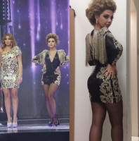 Wholesale 2014 Myriam Fares Celebrity Dress Mini Short Long Sleeve Deep V Neck Black Taffeta Gold Appliques Prom Dresses Party Dresses Ke141