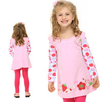 Wholesale F2275 Hot pink Nova kids wear spring autumn y y cute baby girls flowers embroidery tunic tops cotton long sleeve appliqued design t shirt