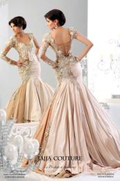 Wholesale 2014 Creative Individual Arabic Kaftan Evening Dress With Long Sleeves And Gold Applique Taffeta Abaya Dubai Evening Gowns