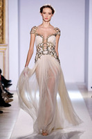 Reference Images Floor-Length Chiffon 2014 Elie Saab Party Dresses Scoop Backless Portrait Gold Appliques Floor Length Sheath Column Sweep Train Zipper Prom Dress