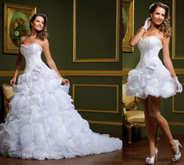 Wholesale 2014 vestido de noiva White Ball Gown Wedding Dresses Strapless two in one Removable Skirt Mini Short Summer Winter Beach Bridal Gowns Mc11