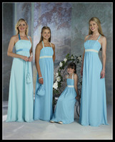Wholesale Light Sky Blue Halter Sheath Column Formal Long Chiffon Bridesmaid Dresses Floor Length Ribbon Ruffles Party Gowns For Wedding