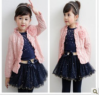 Wholesale New Girls Spring Princess Outfit Ruffle Collar Jacket T shirt Tutu Skirt Pieces Set Kids Sweet Pretty Set