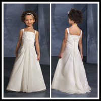 Wholesale Custom Made Spaghetti A Line Chiffon Floor Length Flower Girls Dresses Ivory Long Embroidery Girl s Pageant Formal Occasion Gowns