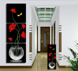 3 Pieces Modern Wall Painting red flowers canvas wall picture Abstract painting Home Decorative Art Picture oil Painting