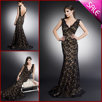 Wholesale 2014 Pageant V Neck Backless Mermaid Evening Dresses Black Lace Formal Dress Prom Gowns Celebrity Gown