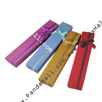 Wholesale Rectangle Cardboard Jewelry Box Velours inside with Bowknot Mixed Color x42x22mm CBOX E001 M