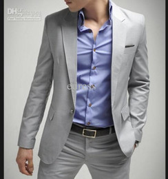 Wholesale Fashion Grey Mens Suit Single Breasted Button Slim Fit wedding suit suit pant Light gray