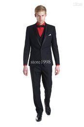 Wholesale Latest Style Groom Tuxedos Black One Button Notch Lapel Best man Groomsman Men Wedding Prom Suits Bridegroom Jacket Pants Tie V