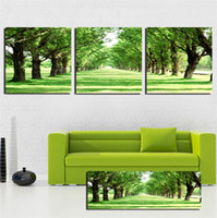 Wholesale 3 Panels Modern Wall Painting living room green tree picture wall art oil Painting Home Decorative Art Picture Canvas Prints