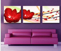 3 Pieces Modern Wall Painting living room red flower picture wall art oil Painting Home Decorative Art Picture Canvas Prints
