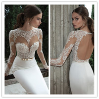 Wholesale New Sheer Wedding Dresses Berta Winter Illusion Round Neck Backless Applique Gold Belt Sweep Train Mermaid Wedding Bridal Gowns B